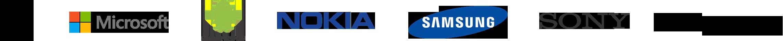 Apple logo, Microsoft logo, Android logo, Nokia logo, Samsung logo, Sony logo, Blackberry logo